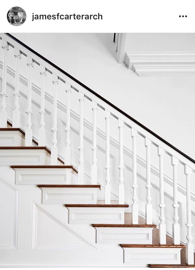 Best White Stair Rail With Wood Steps Double Crown Molding 400 x 300