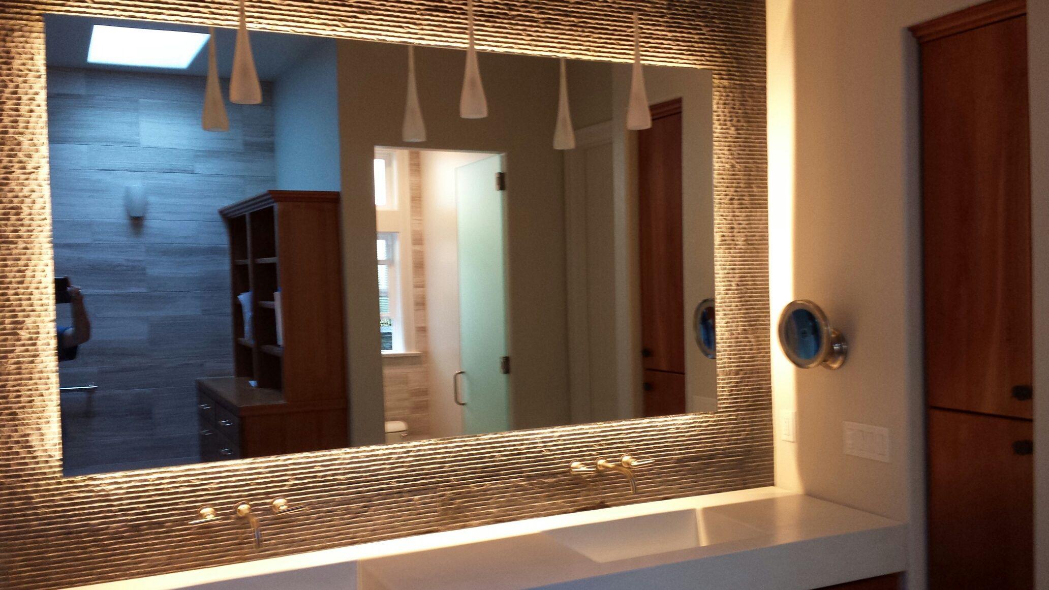Floating Back Lit Mirror Forest Heights Remodel Pinterest - Portland bathroom remodeling contractor
