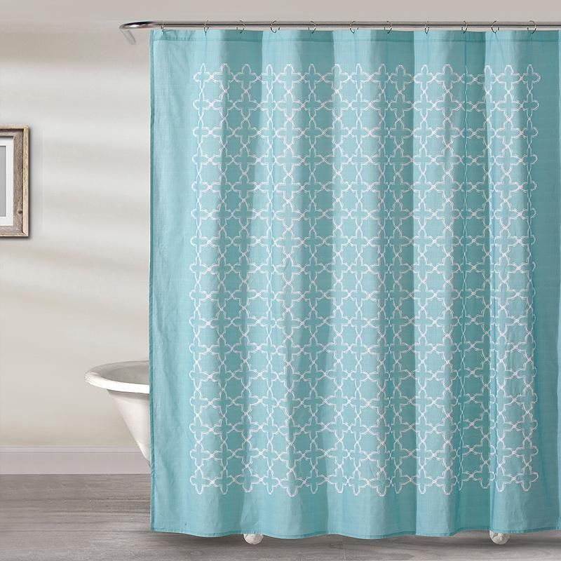 Sophia Tile 100 Cotton Shower Curtain In White With Solid