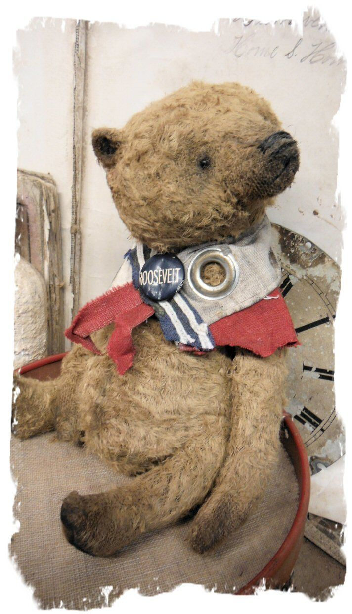 "Meet Roosevelt! handmade by Wendy Meagher of Whendi's Bears - ONE OF A KINDapprox 8.5"" Tall - Antique Style Aged Old brown Chubby Bear with collar from vintage end of flag with grommet"