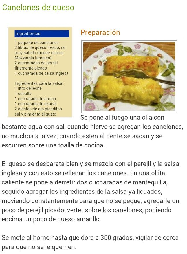 Canelones De Queso Cooking Recipes Food