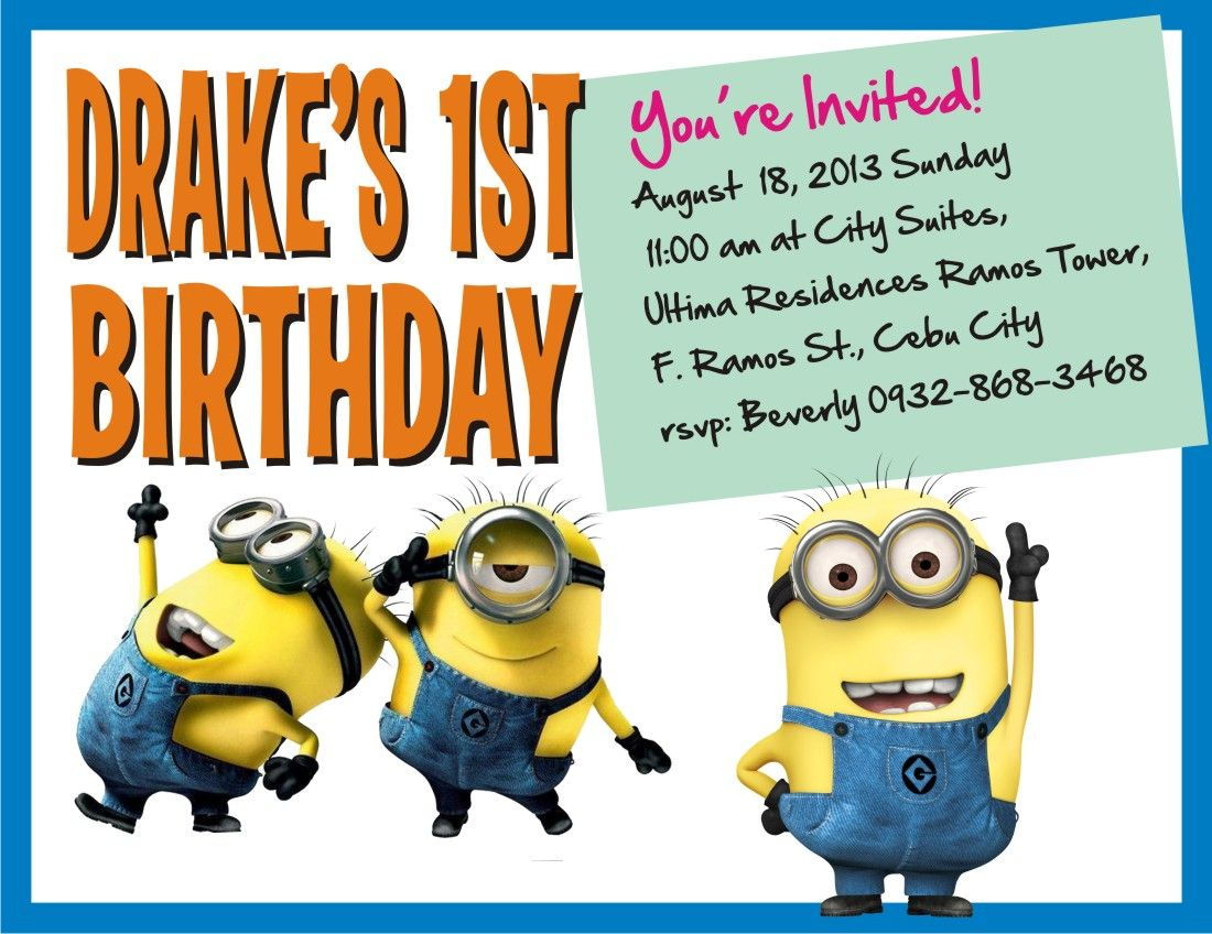 Minion Theme Party Invitation Card Drake Turns ONE