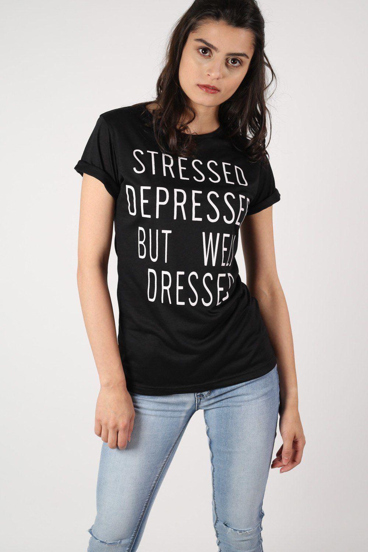 Well Dressed Slogan T-Shirt in Black
