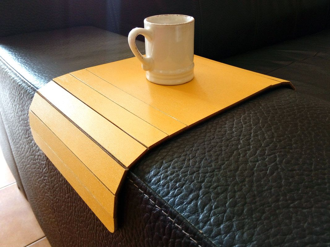 Couch Tray Table Laser Cut Wood Sofa Arm Tablearm Rest Tablesofa Traysofa Table