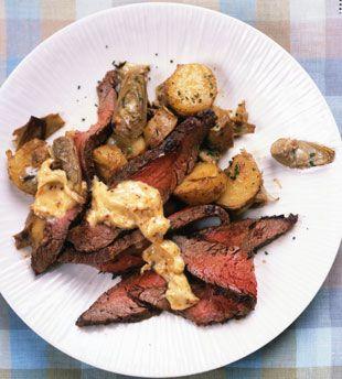 Flank Steak with Artichoke-Potato Hash and Aleppo-Pepper Aioli