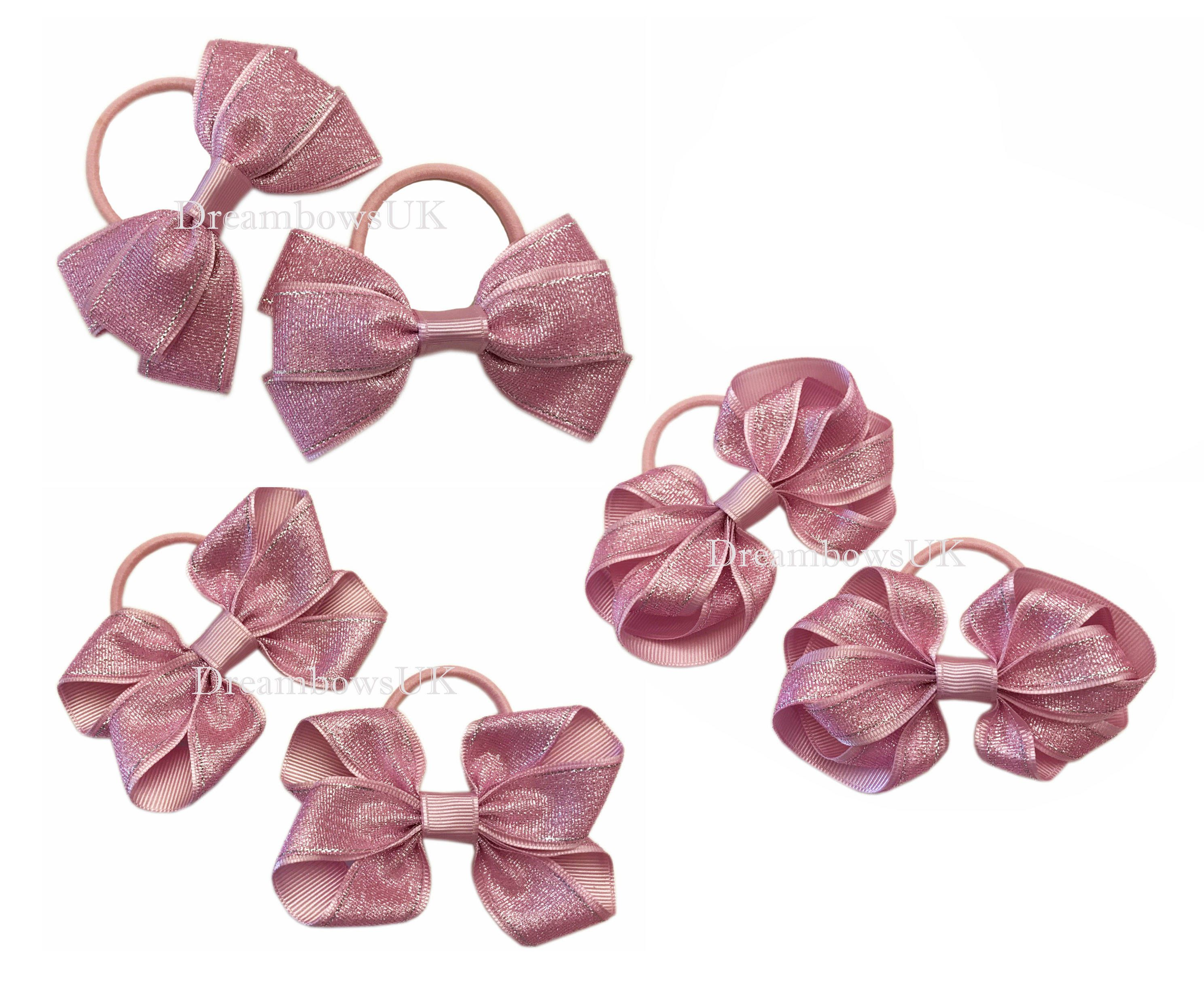 Baby pink glitter ribbon hair bows on thick bobbles 2b7f66c4594