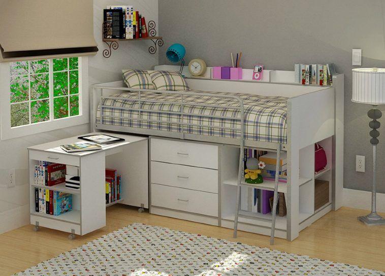 White Kids Loft Bed With Plenty Storage Underneath And Desk On