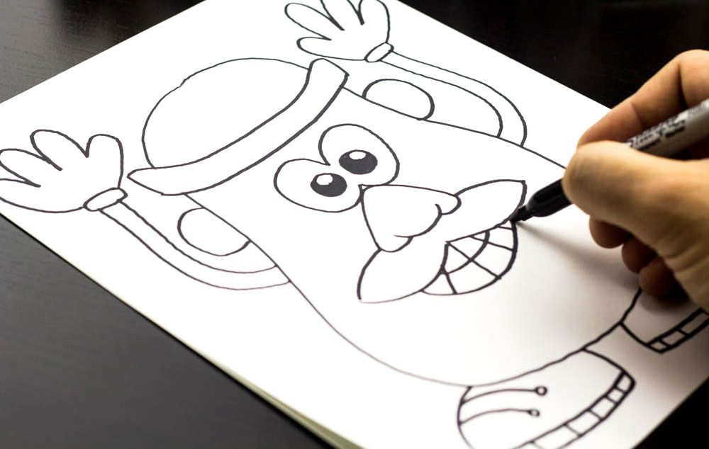 Easy instructions for kids on how to draw mr potato head for Simple paintings to draw
