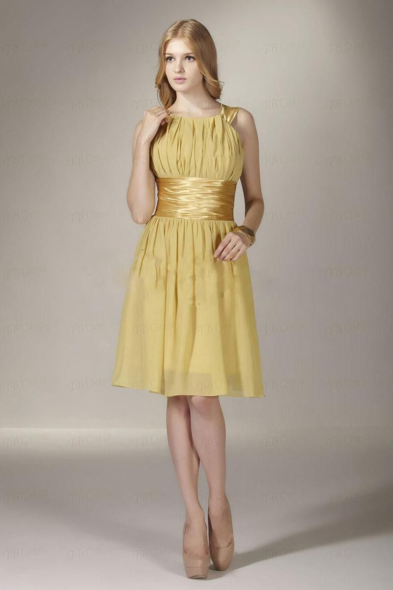 2014 amazing gold a line waistband knee length chiffon empire 2014 amazing gold a line waistband knee length chiffon empire bridesmaid dress cocktail dresses ombrellifo Image collections