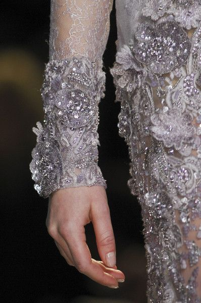 Beautiful floral embellishment on lace in Silver Violet Elie Saab Spring Summer Couture 2013 #HauteCouture #HC #Fashion