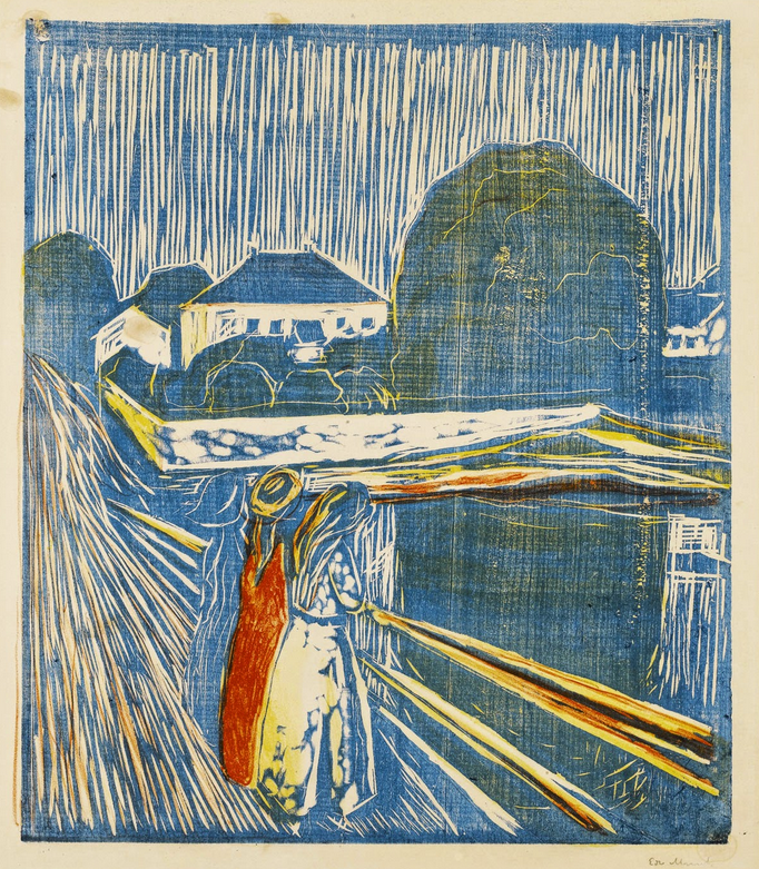 "igormaglica: ""Edvard Munch (1863-1944), The Girls on the Bridge, 1918-20. woodcut and lithograph 49.7 x 43.3 cm (image) """