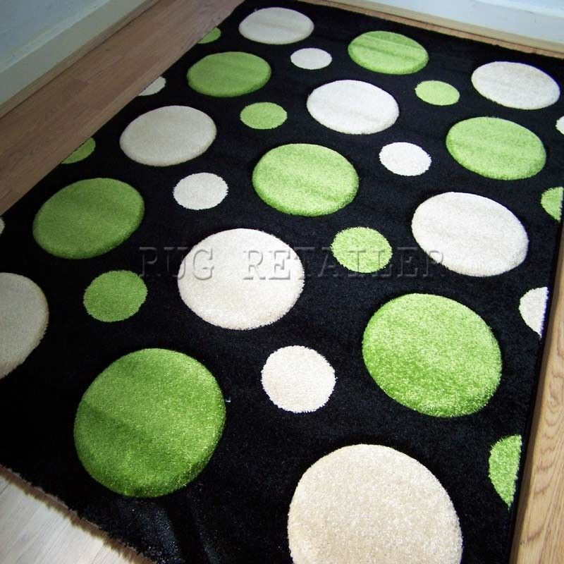 Sprit Bubbles Rugs In Black & Lime Green - The