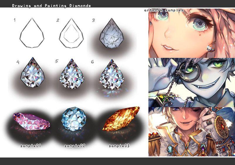 Drawing Jewelry Diamonds Art Tutorials Digital Art Tutorial Drawing Artwork