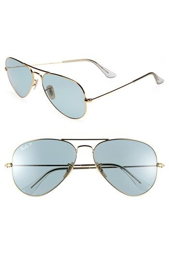 5a479c91c891e Ready for fall season, loving the cool, soft color by Ray-Ban ... Original  Aviator  58mm Polarized Sunglasses available at  Nordstrom