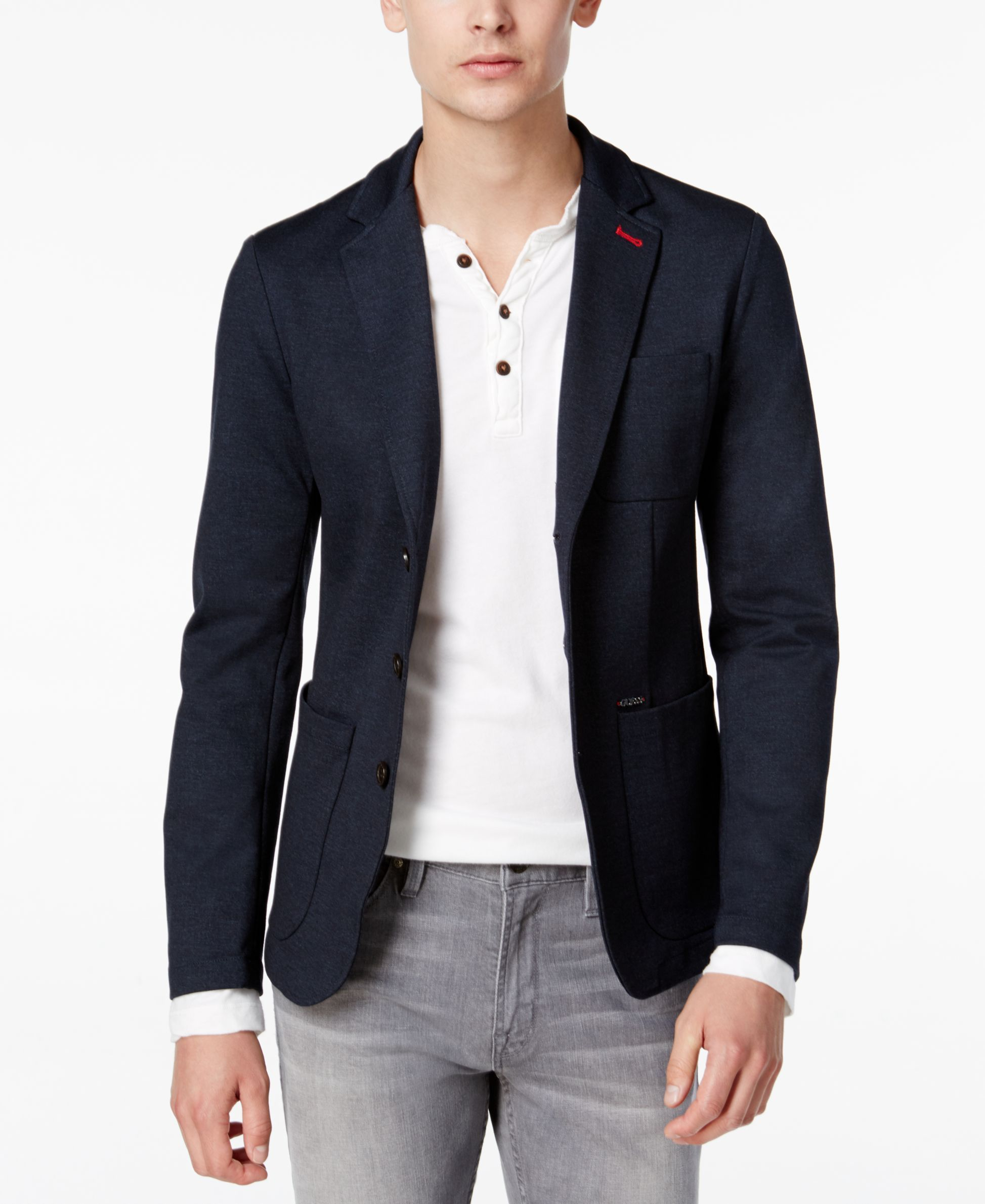 GUESS Men's Navy Blazer - Blazers & Sport Coats - Men - Macy's