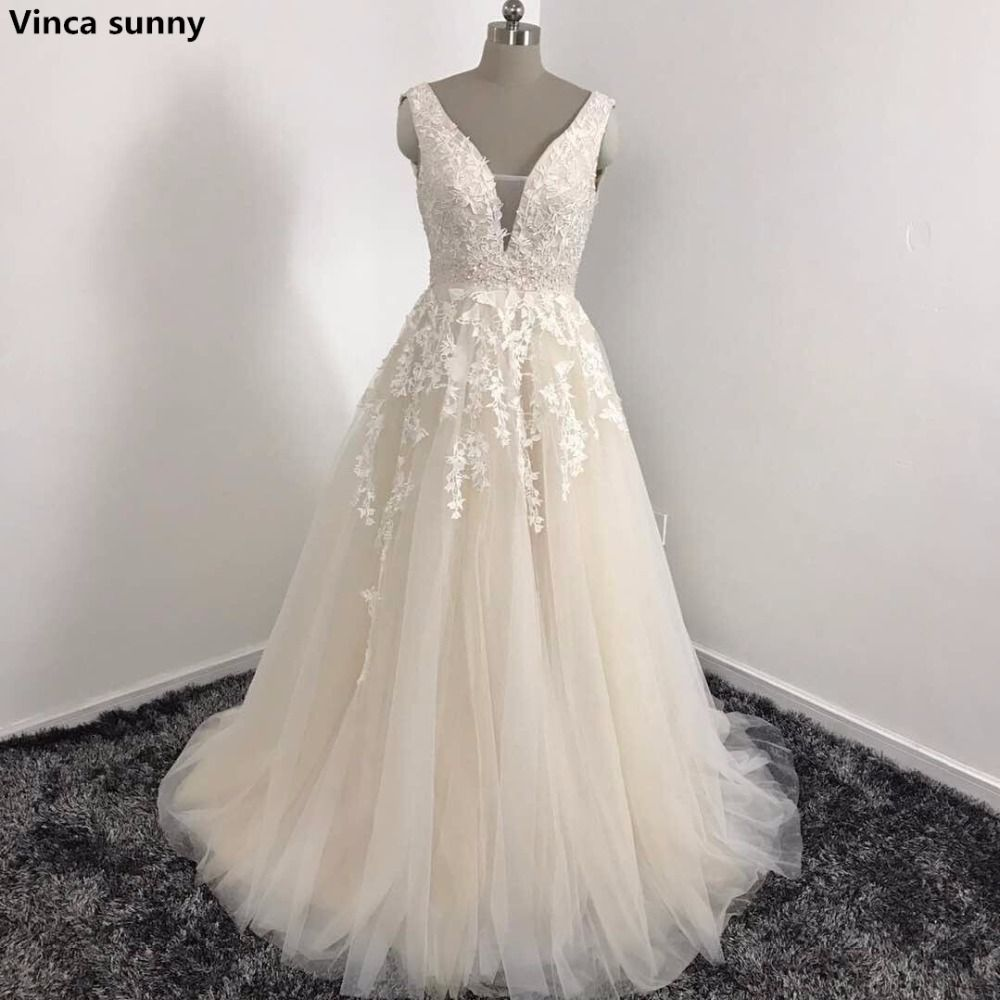 Click to buy ucuc vinca sunny sexy v neck lace long prom dresses tulle