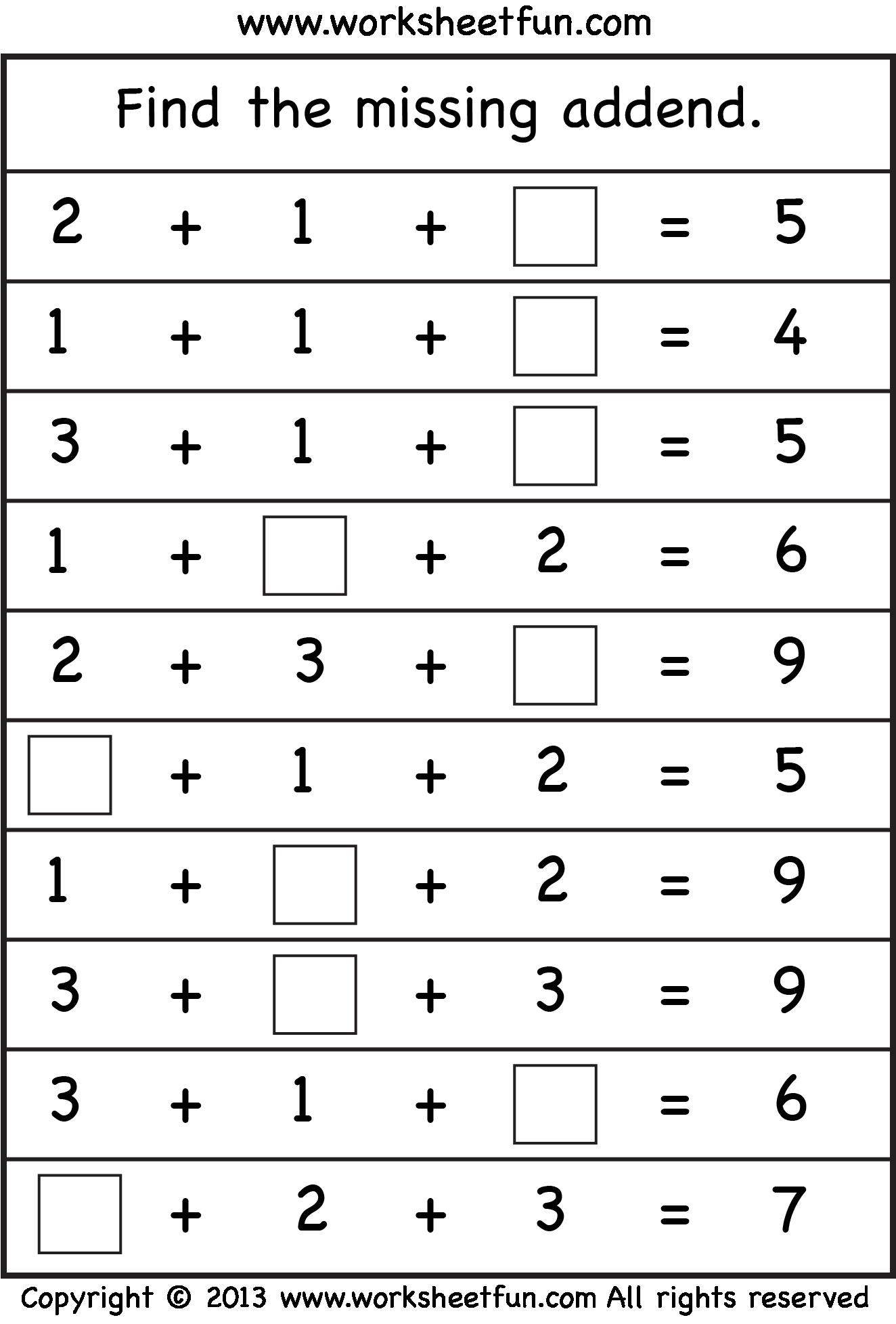 Missing Addend Four Worksheets Free Printable Worksheets First Grade Math Worksheets First Grade Worksheets 1st Grade Math Worksheets [ 1955 x 1324 Pixel ]