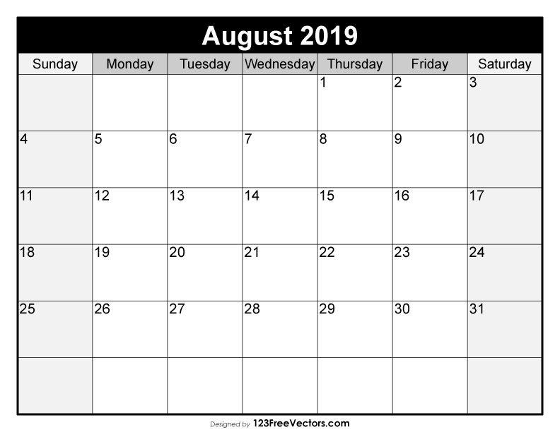 Blank August Calendar 2019 2019 Calendar Pinterest Calendar