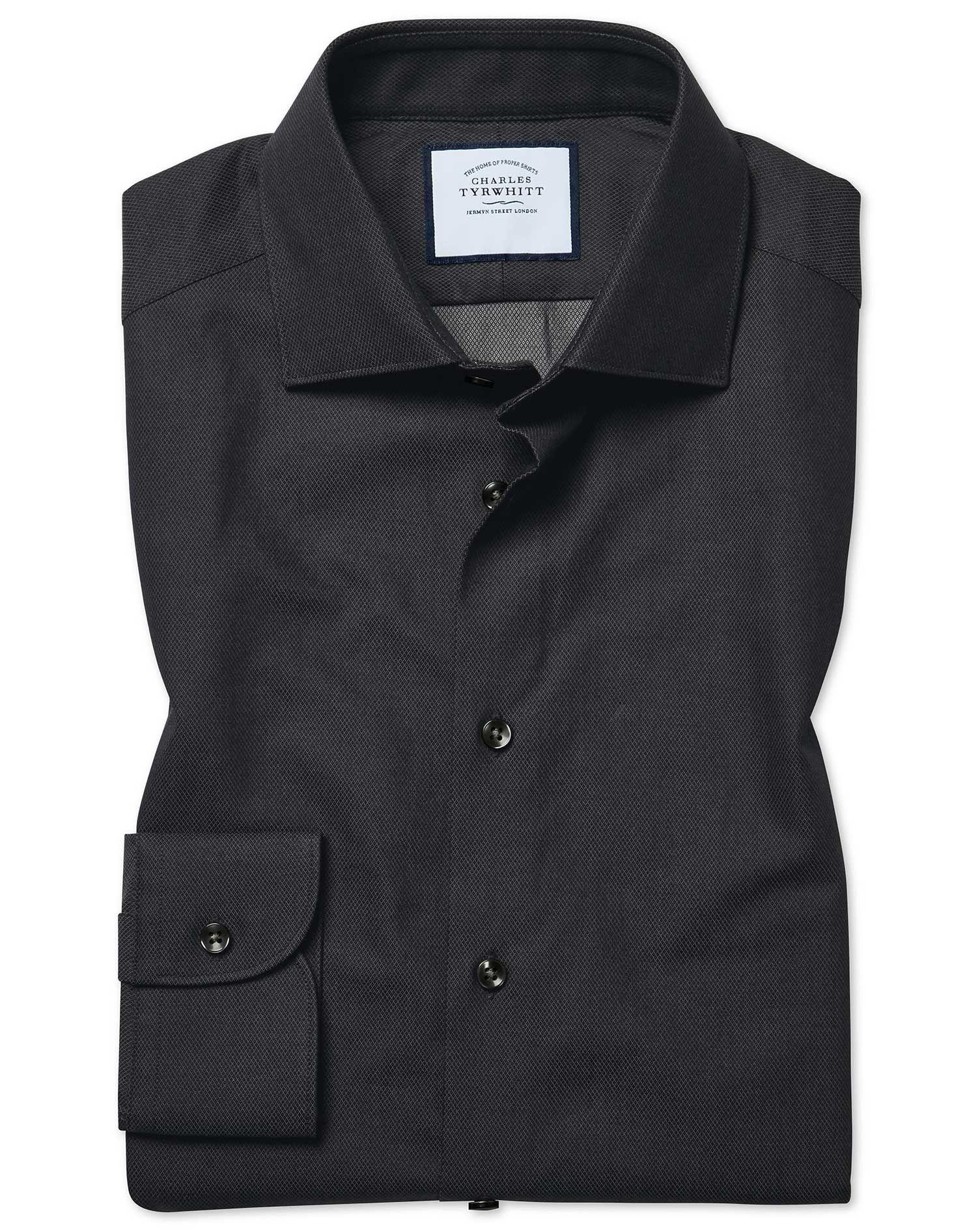 Extra Slim Fit Micro Diamond Charcoal Cotton Dress Shirt