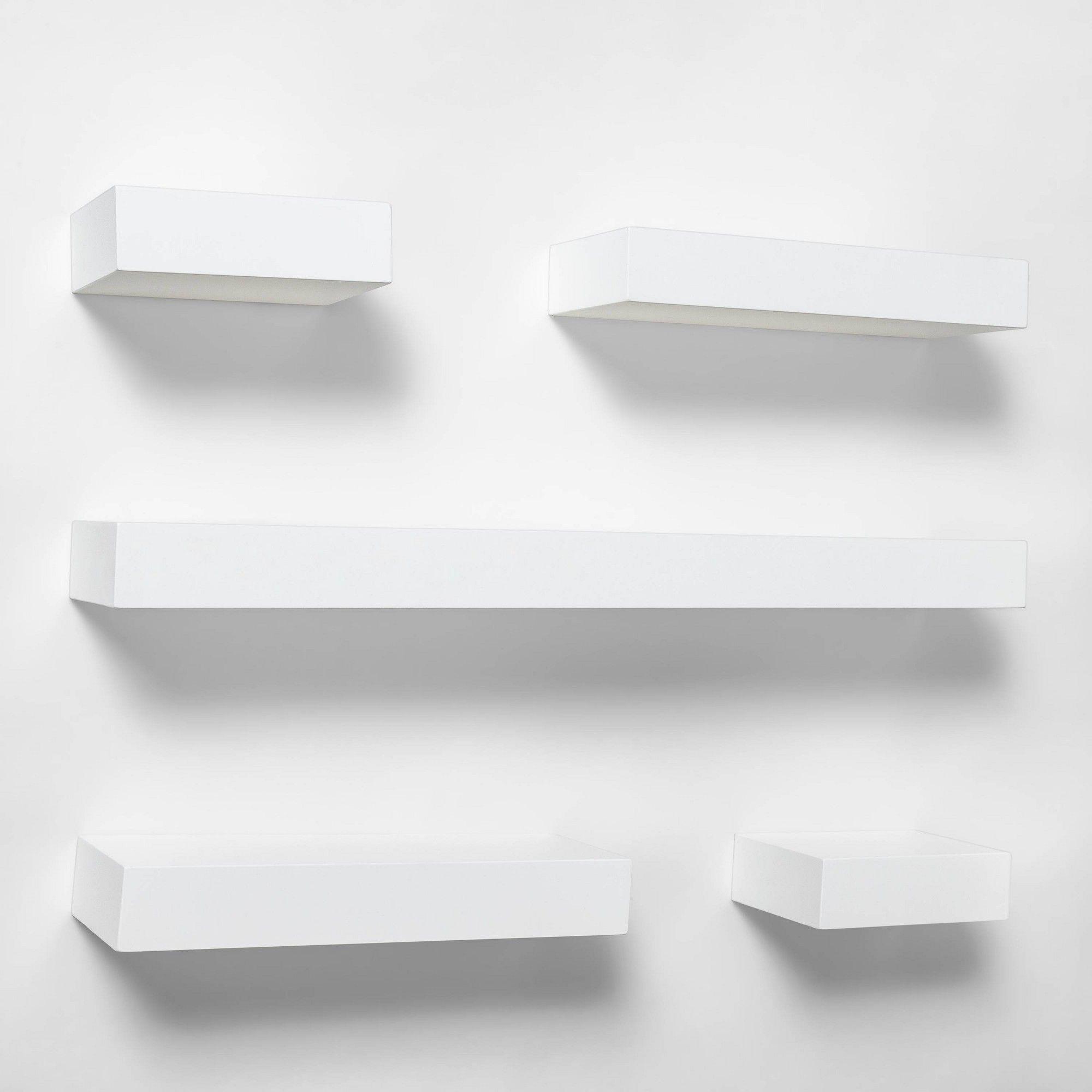 Honey Can Do 29 53 In X 3 94 In H Shape White Wall Shelf