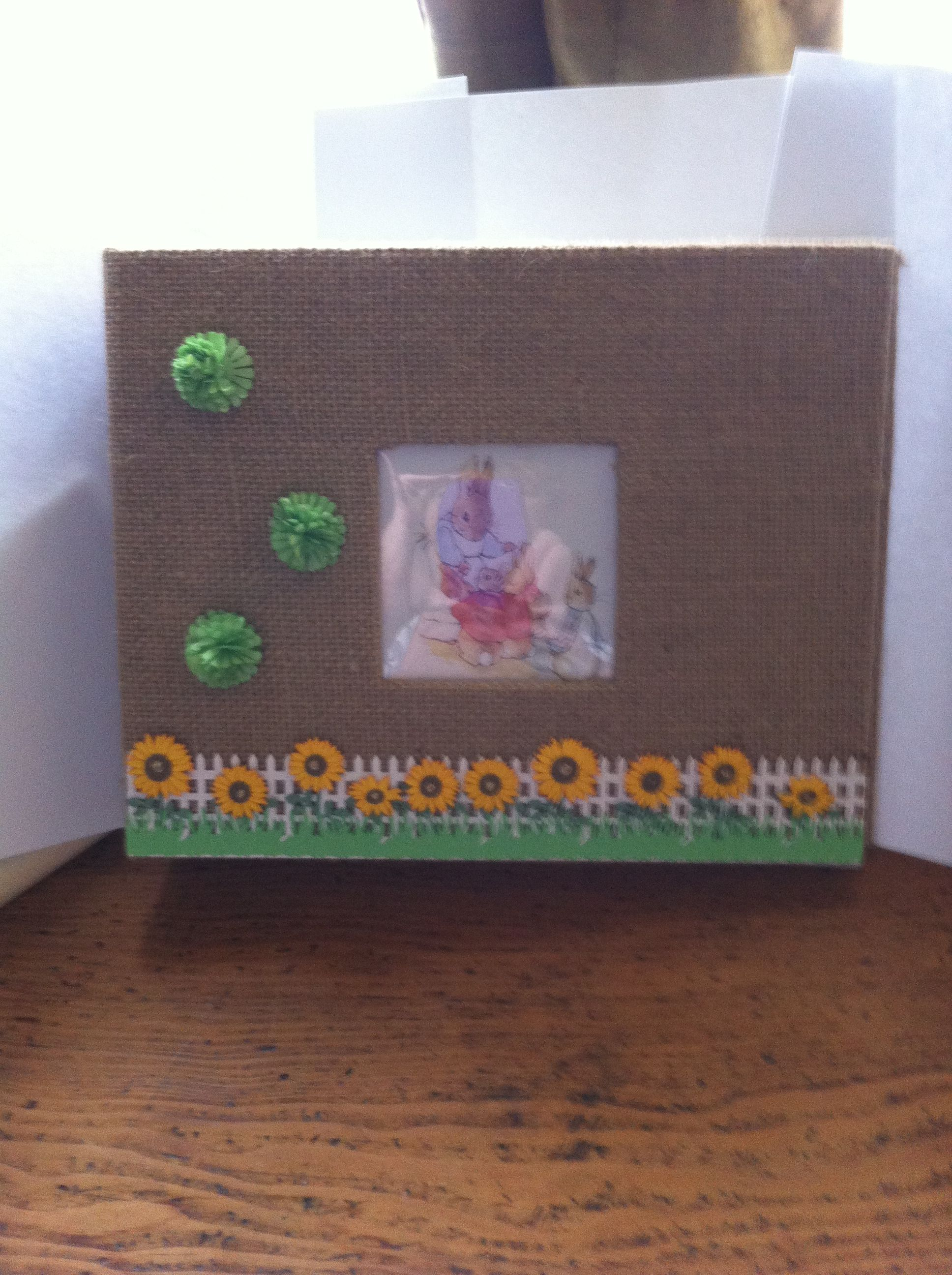 Plain Burlap Photoscrapbook Decorated For Peter Rabbit Themed Baby