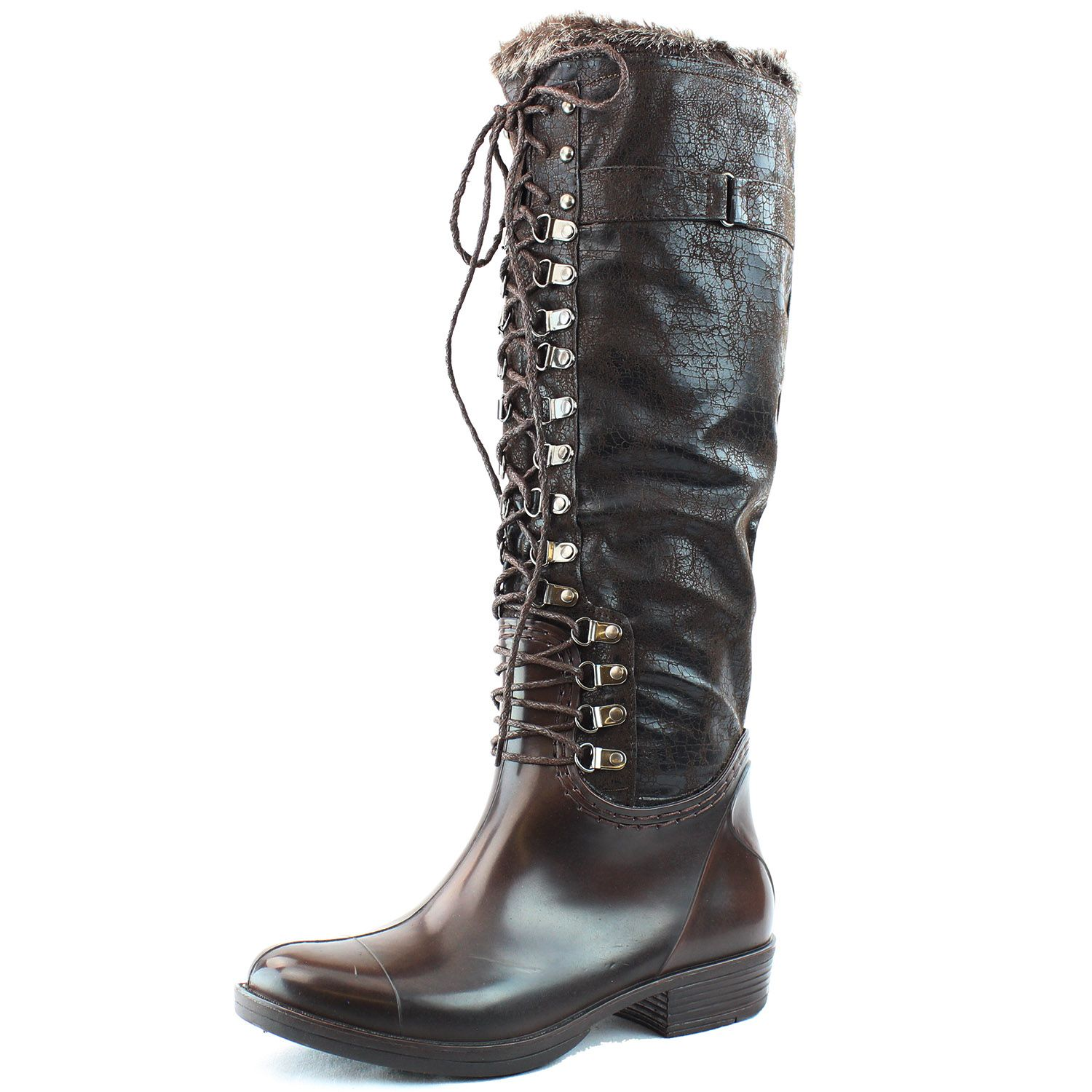 Save 10% + Free Shipping Offer * | Coupon Code: Pinterest10 Material: Man Made Faux Fur Brand: Nature Breeze Collection Product Code: Echo-02 Brown Women's Nature Breeze Echo-02 Brown Lace Up Snow Rain Boots