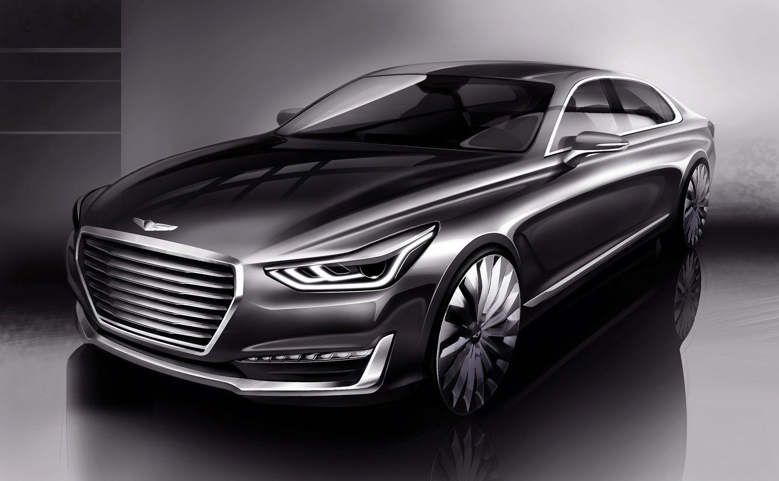 The Genesis G90 Will Be Hyundai S Flagship Replacement For The Equus Hyundai Genesis Hyundai Motor Luxury Sedan