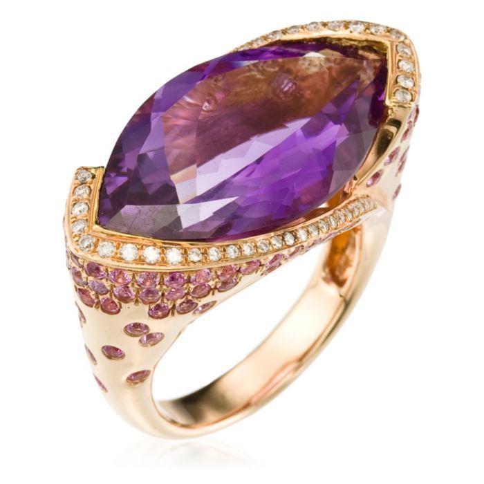 Rose Gold Ring with Diamonds (0.23 ct), Amethyst (13.8 ct) & Pink Sapphire... Este es el anillo de graduación que yo necesito!!!