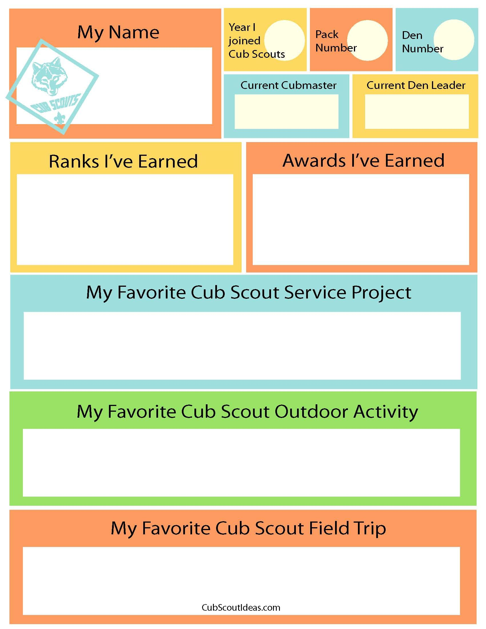 Free Printable Time Capsule Questionnaire for Cub Scouts ~ Cub Scout Ideas