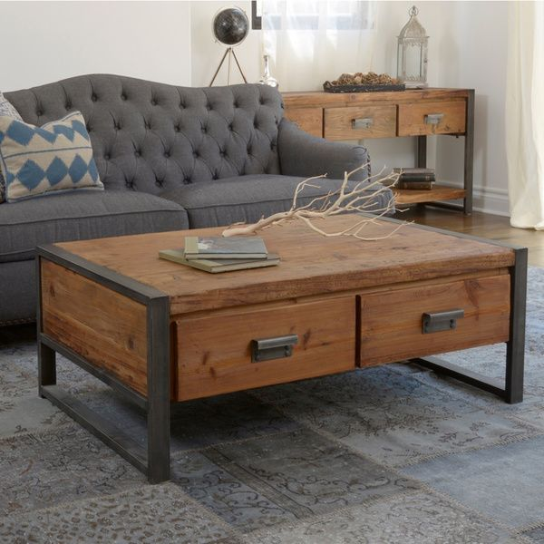 30 Distressed Rustic Living Room Design Ideas To Inspire: Kosas Home Carly Distressed Finish 2-drawer Coffee Table