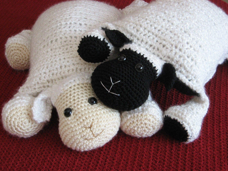 Free Amigurumi Pillow Patterns : Crochet Lamb, Cute and Cuddley Crochet Critter Pillow ...