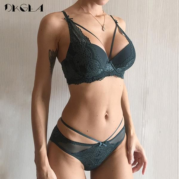43c5a8d12c New Green Underwear Set Women Bra Push Up Brassiere Cotton Thick Black  Gather Sexy Bra Panties Sets Embroidery Lace…  Discounts  BestPrice