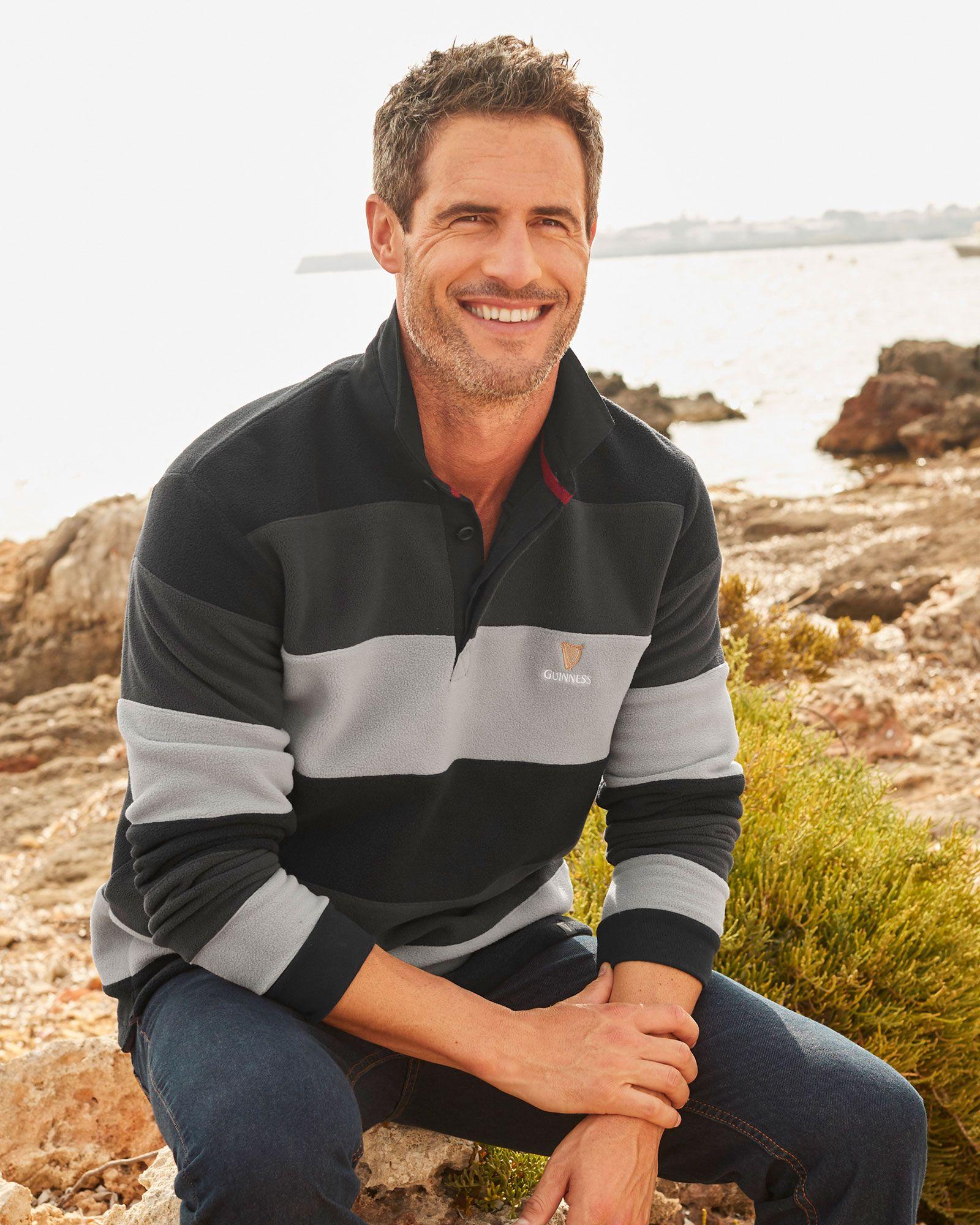 Cotton Traders Mens Long Sleeve Casual Striped Fleece Sweatshirt