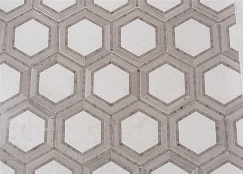 Hex Appeal 5 Inch Hexagon Ivory Grey Athens Silver
