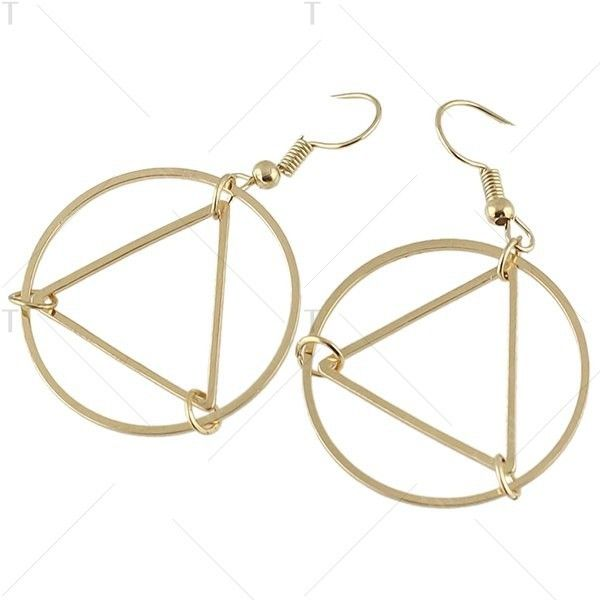 Round Geometric Drop Hoop Earrings Golden ($2.47) ❤ liked on Polyvore featuring jewelry, earrings, golden hoop earrings, geometric jewelry, geometric earrings, golden jewelry and round earrings
