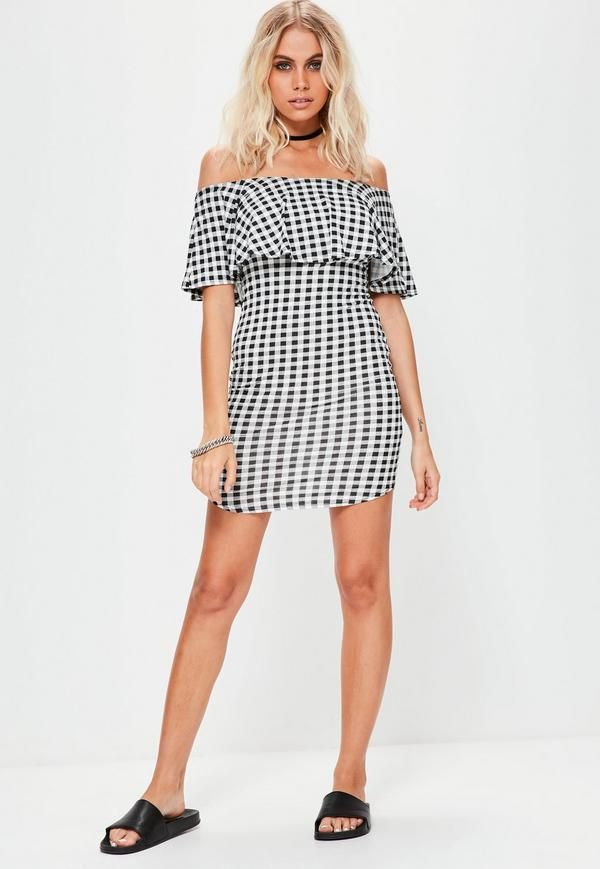 Missguided Gingham Bardot Dress Latest Collections 6M9dgvORam