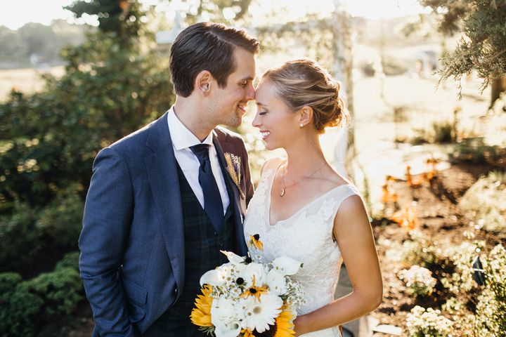 Bride and groom wedding photo | fabmood.com #wedding #backyardwedding #fallwedding #brideandgroom #sunflowerthemed