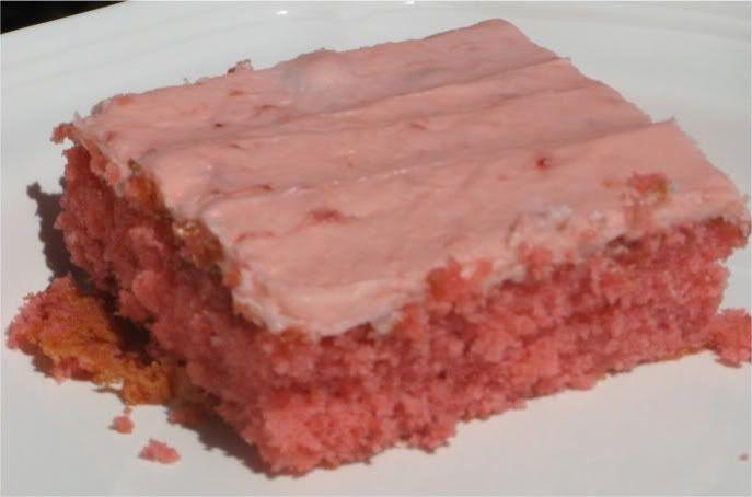 Strawberry Jello Cake Recipe From Scratch: Fresh Strawberry Sheet Cake Semi Homemade~White Cake Mix