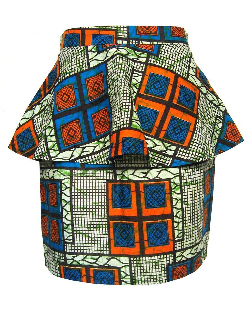 African print peplum skirt