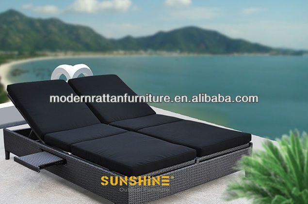 Groovy Double Rattan Sunbed Pool Lounge Chair Rattan Sunbed Machost Co Dining Chair Design Ideas Machostcouk