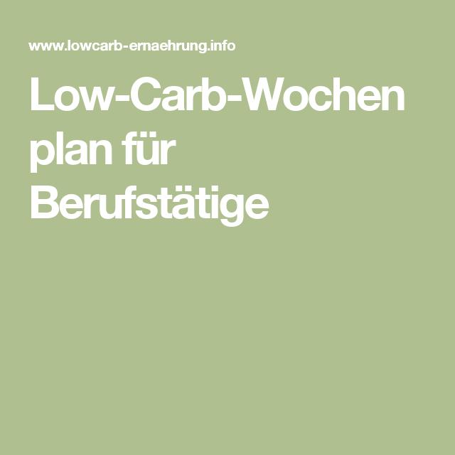 Low Carb Wochenplan Berufstätige