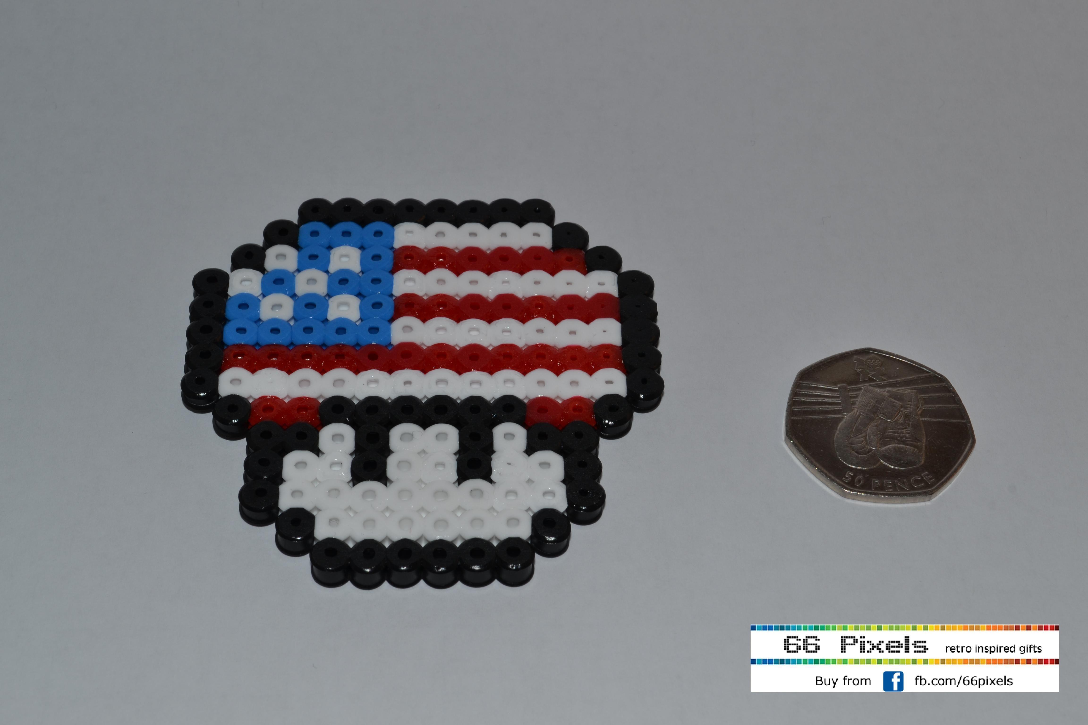 American mario mushroom coaster using perler/hama/fuse beads  by James Morgan - visit fb.com/66pixels