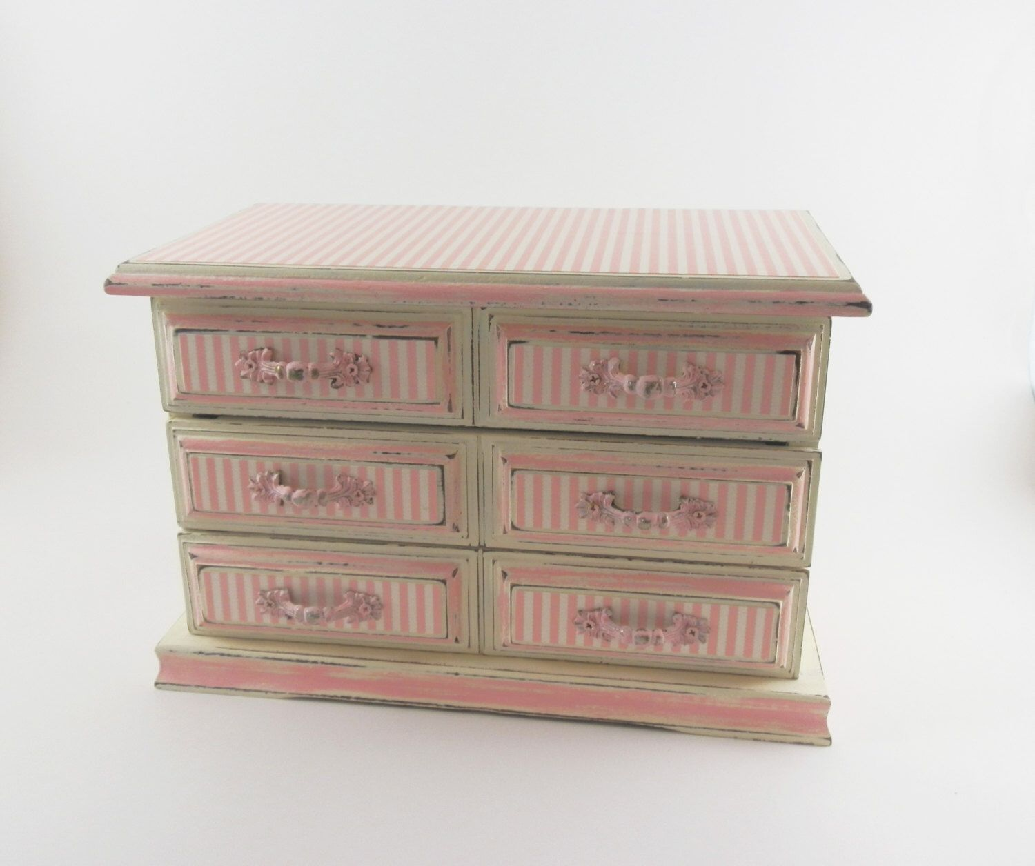Jewelry Box Girls Ladies Pink White Hand Painted Annie Sloan Chalk