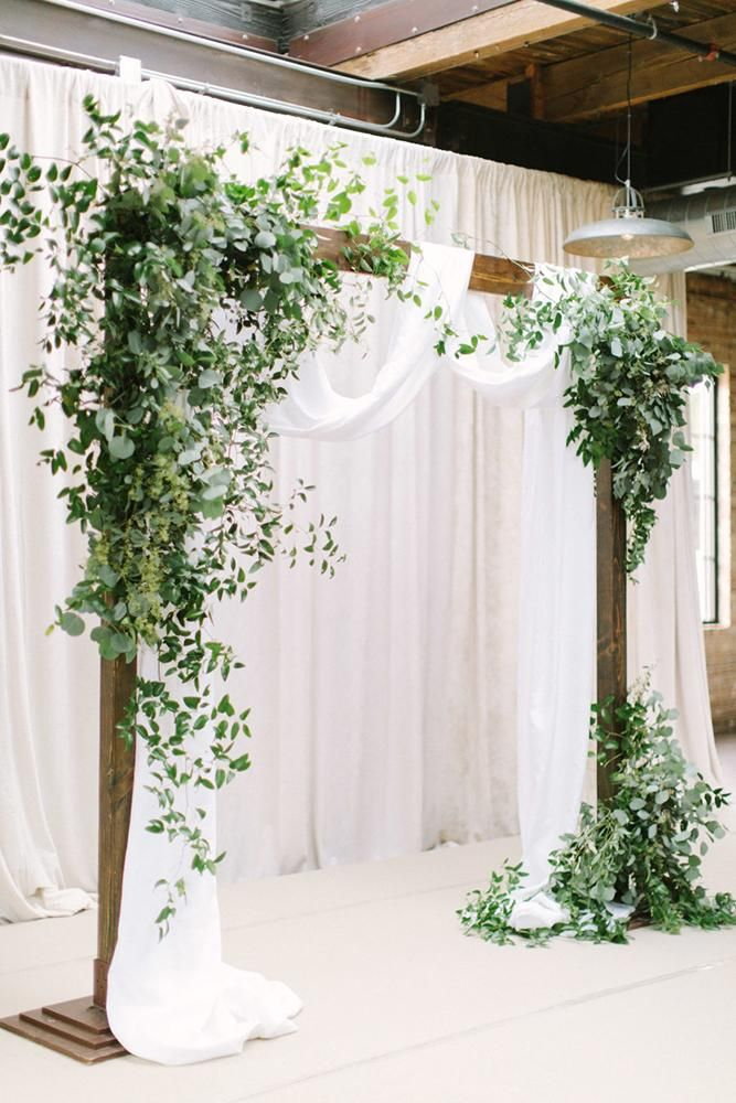 wedding decor 2019 simple elegant wooden arch with greenery and white cloth timtabstudios