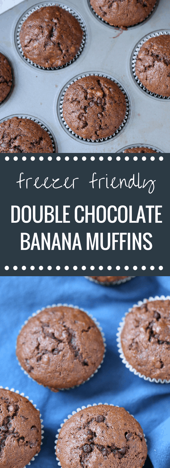 This Chocolate Muffins recipe is just as good as Costco! Try these Freezer Friendly Double Chocolate Banana Muffins asap! happymoneysaver.com | #freezermeals #makeahead #frozenbananarecipes