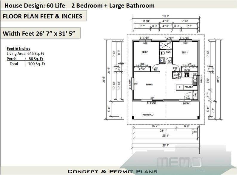 Apr 17 2020 2 Bedroom House Plan 700 Sq Feet Or 65 M2 2 Small Home Etsy Traumhaus Maisondereveinteri In 2020 House Plans For Sale Flat House Design House Plans