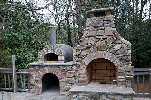 Outside Fireplace With Pizza Oven Backyard Fireplace Patio