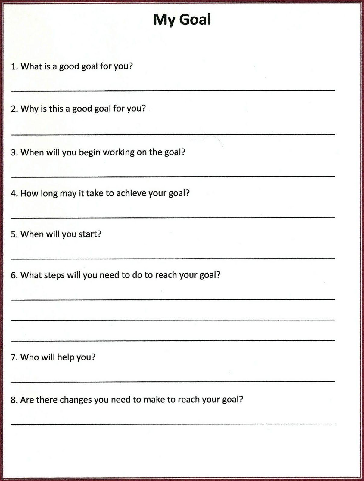 Lorinda Character Education My Goal Self Esteem Worksheets Self Esteem Activities Counseling Worksheets