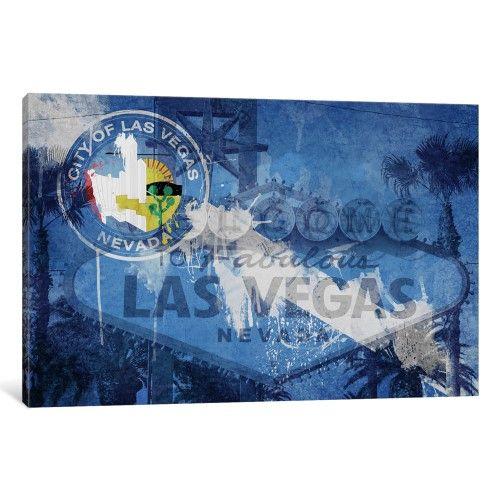iCanvas City Flag Overlay Series (Fresh Paint) Las Vegas, Nevada - fresh e blueprint denver
