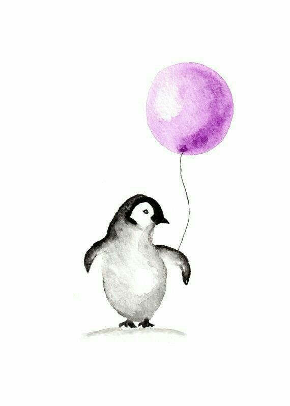 Penguin Holding A Balloon Watercolor Illustration Penguin Wall